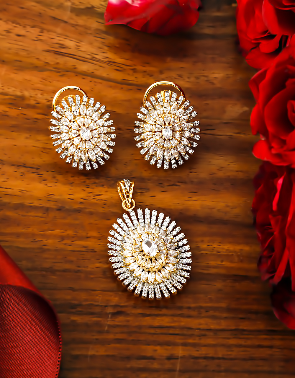 Gold Finish American Diamond Artificial Pendant Set For Girls