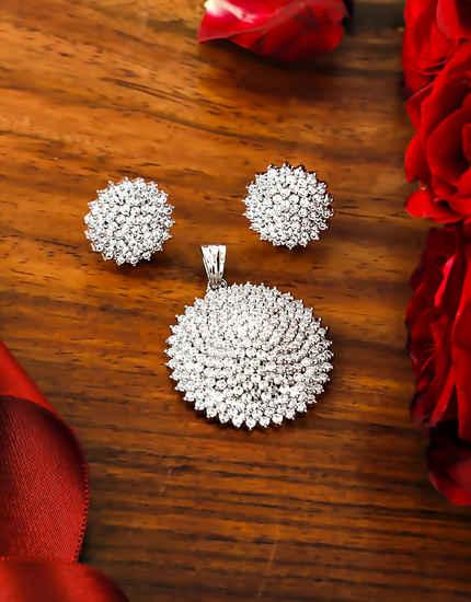 Silver Finish Stunning American Diamond Party Wear Jewellery