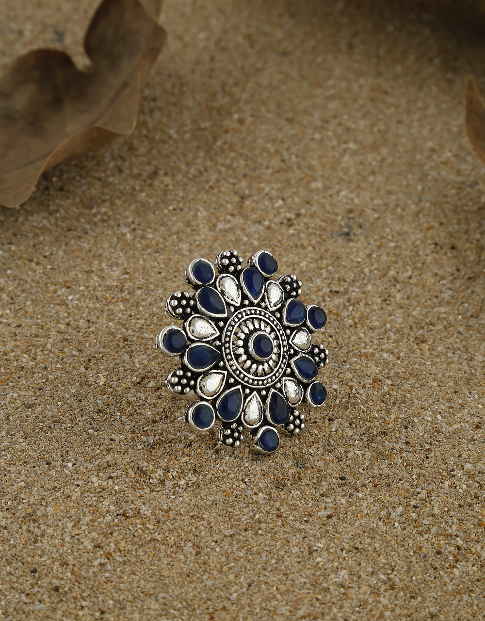 Blue Colour Oxidized Finish Studded With Stones Finger Ring For Girls