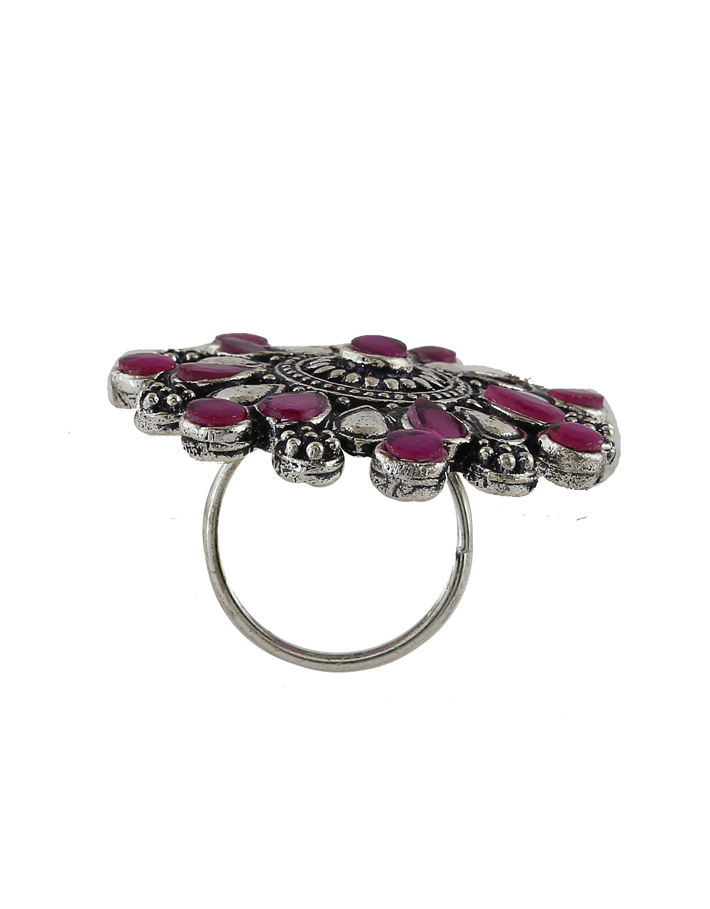 Pink Colour Oxidized Silver Finish Adorable Finger Rings
