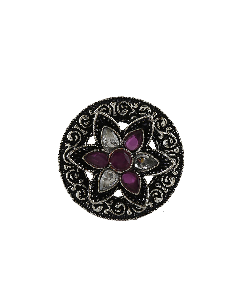 Pink Colour Oxidized Finish Stylish Finger Rings For Women