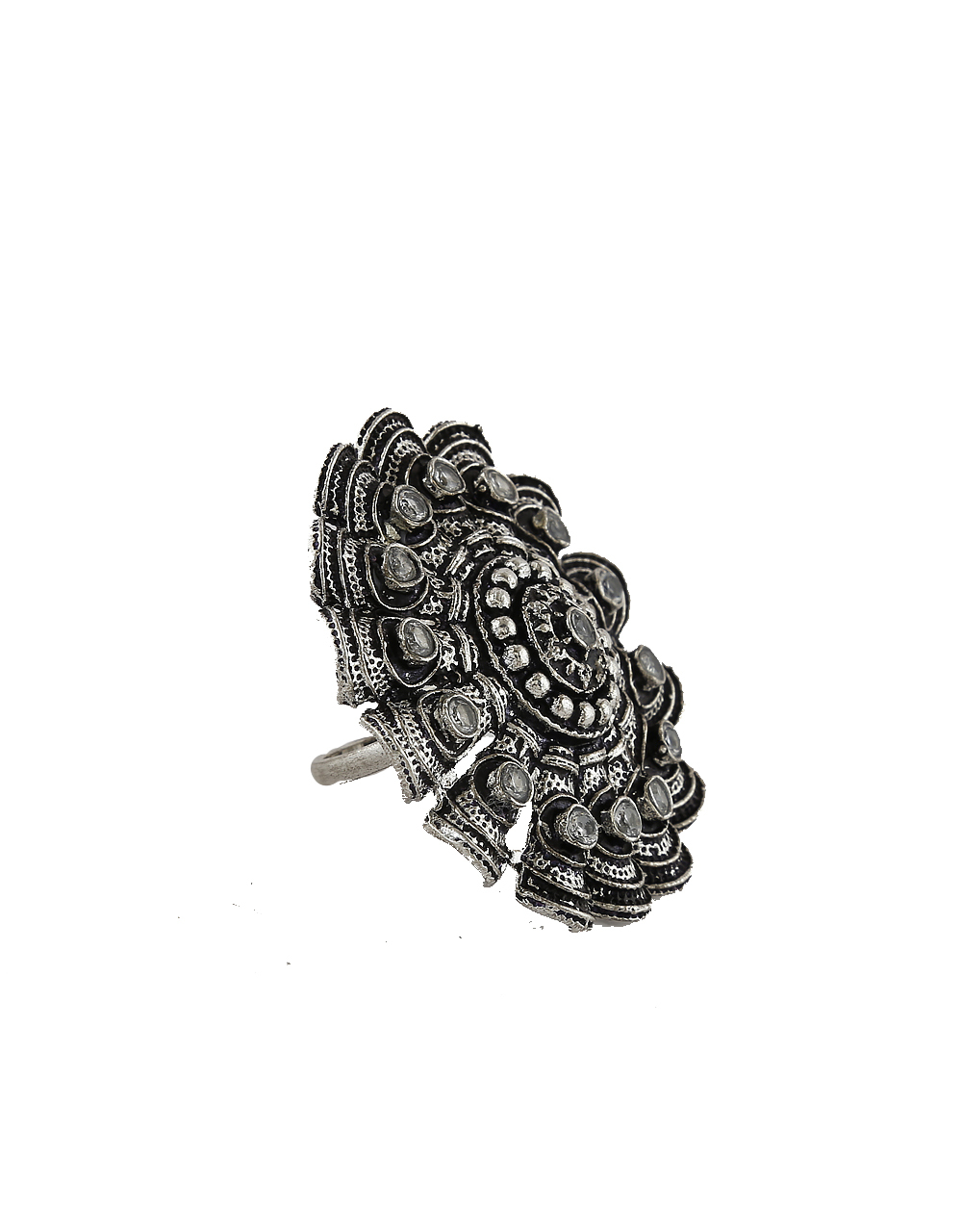 Fashionable Oxidized Finish Designer Finger Ring For Women