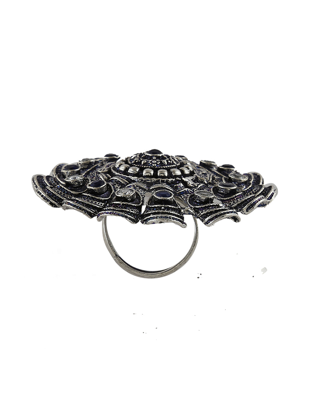 Blue Colour Oxidized Finish Studded With Stones Finger Ring For Women