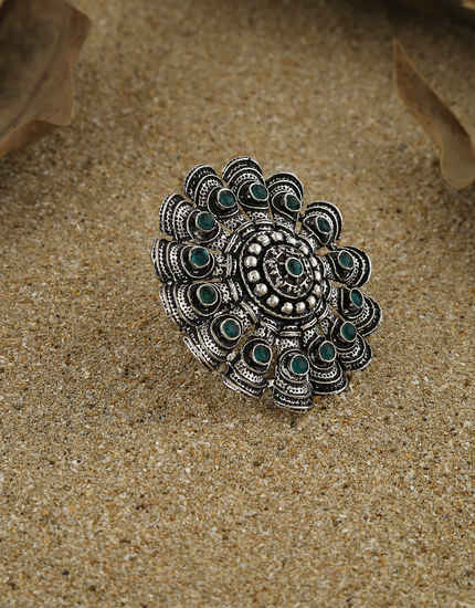 Green Colour Fashionable Oxidized Finish Stunning Finger Ring