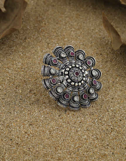 Pink Colour Fancy Oxidized Finish Finger Ring For Wedding Wear