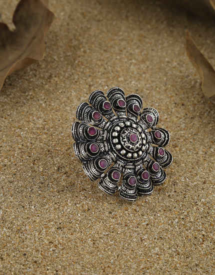 Fashionable Pink Colour Oxidized Finish Stunning Finger Ring