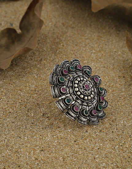Multi Colour Fancy Oxidized Finish Stylish Finger Ring