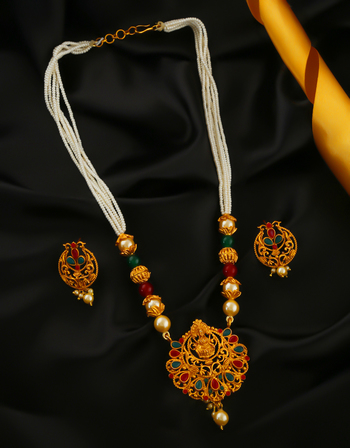 Multi Colour South Matte Finish Traditional Pendant Set For Women