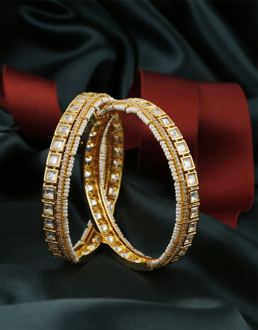 Designer Gold Finish Fancy American Diamond Pearls Styled Fancy Bangles
