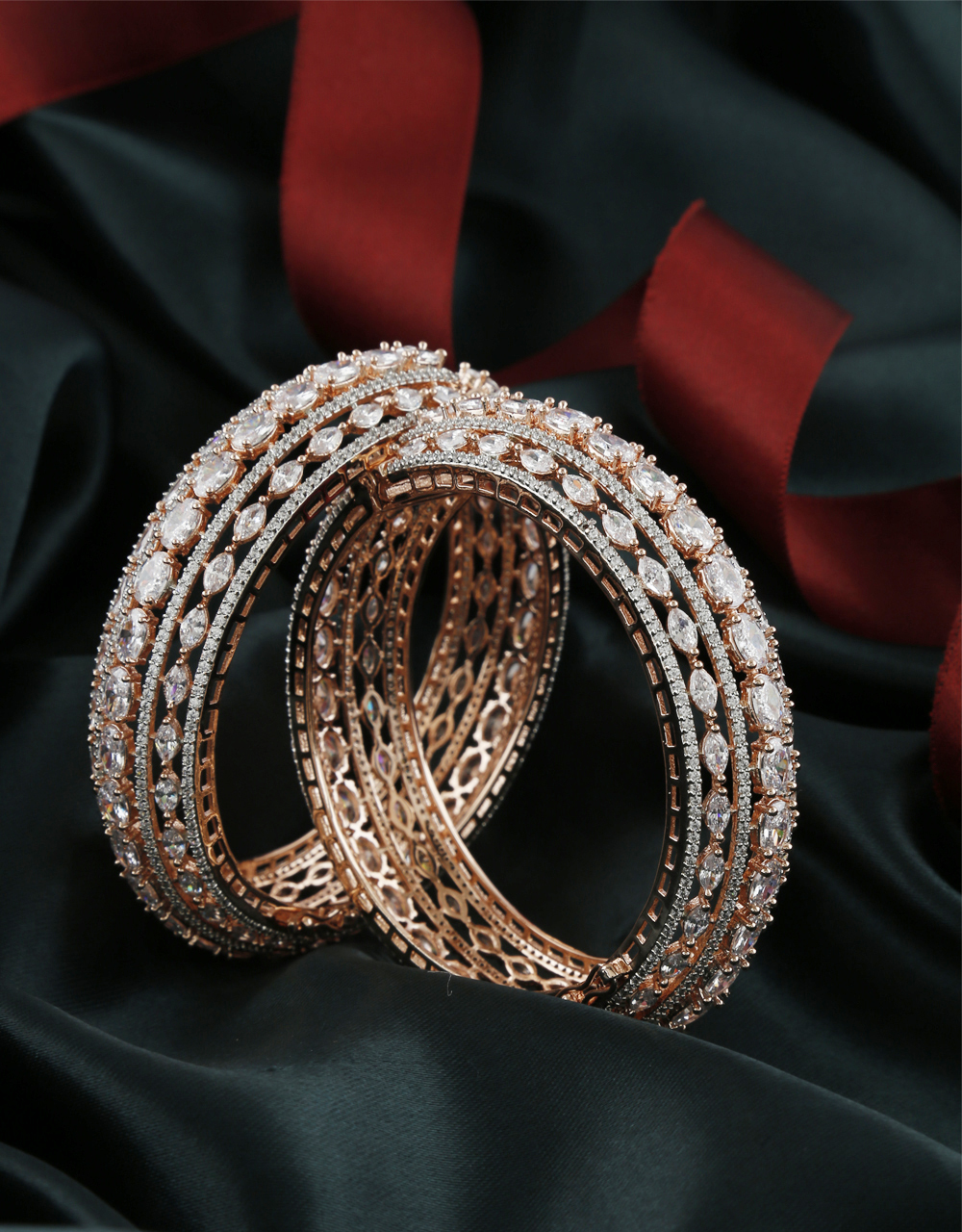 Rose Gold Finish American Diamond Party Wear Bangles For Women