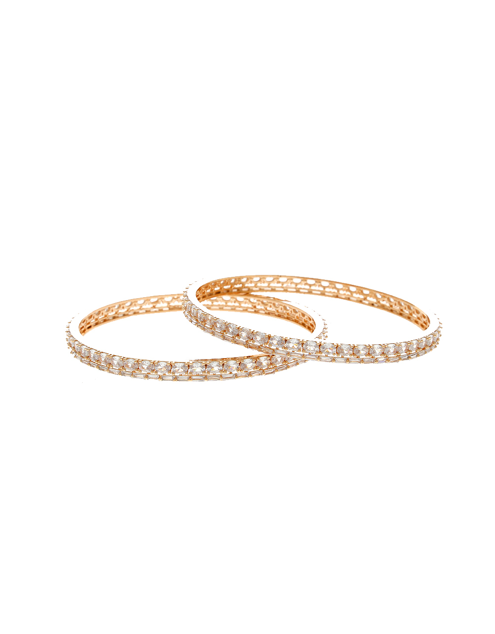 Rose Gold Finish American Diamond Bangle Kada For Women