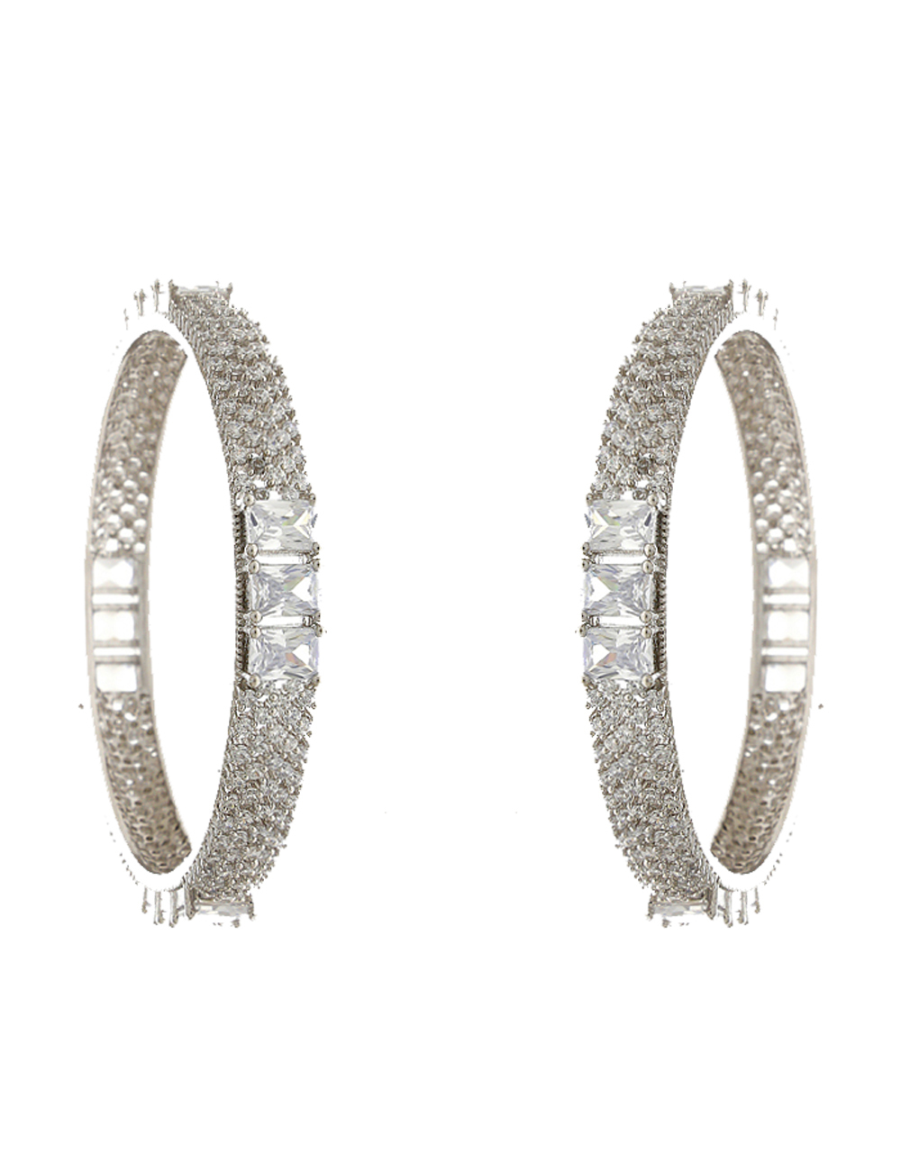 Adorable Silver Finish Studded With American Diamond Bangles