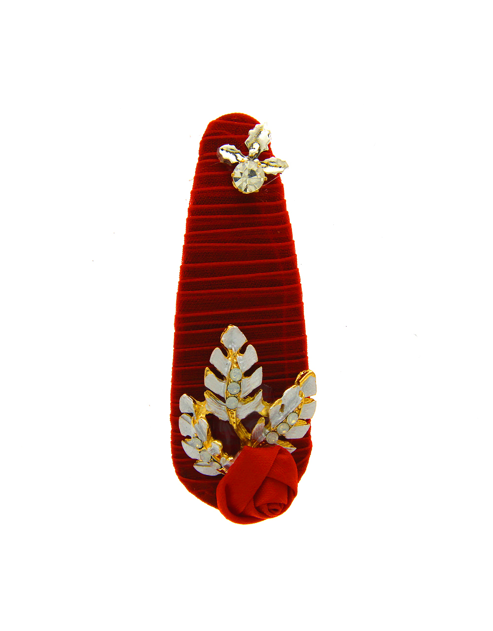 Red Colour Studded With Stones Fancy Hair Pin
