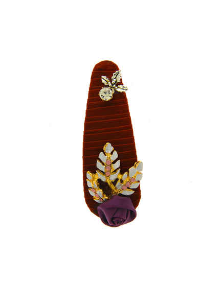 Maroon Colour Studded With Stones Hair Pin For Women
