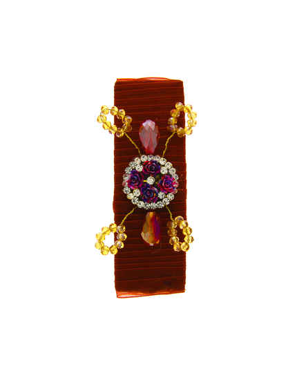 Designer Maroon Colour Style With Beads Hair Pin