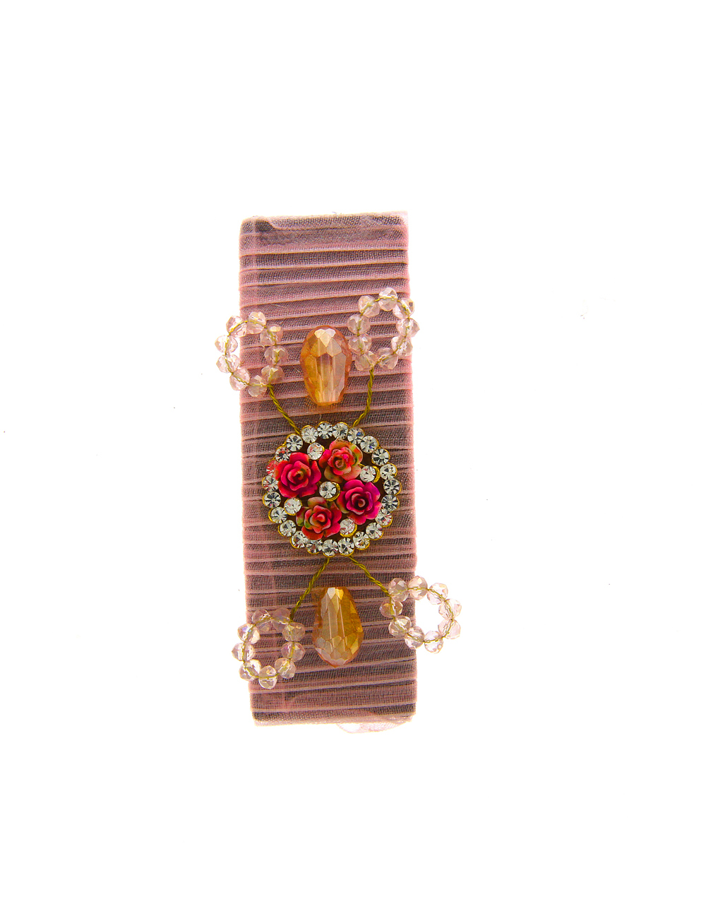 Pink Colour Designer Styled With Beads Fancy Hair Grip Pin
