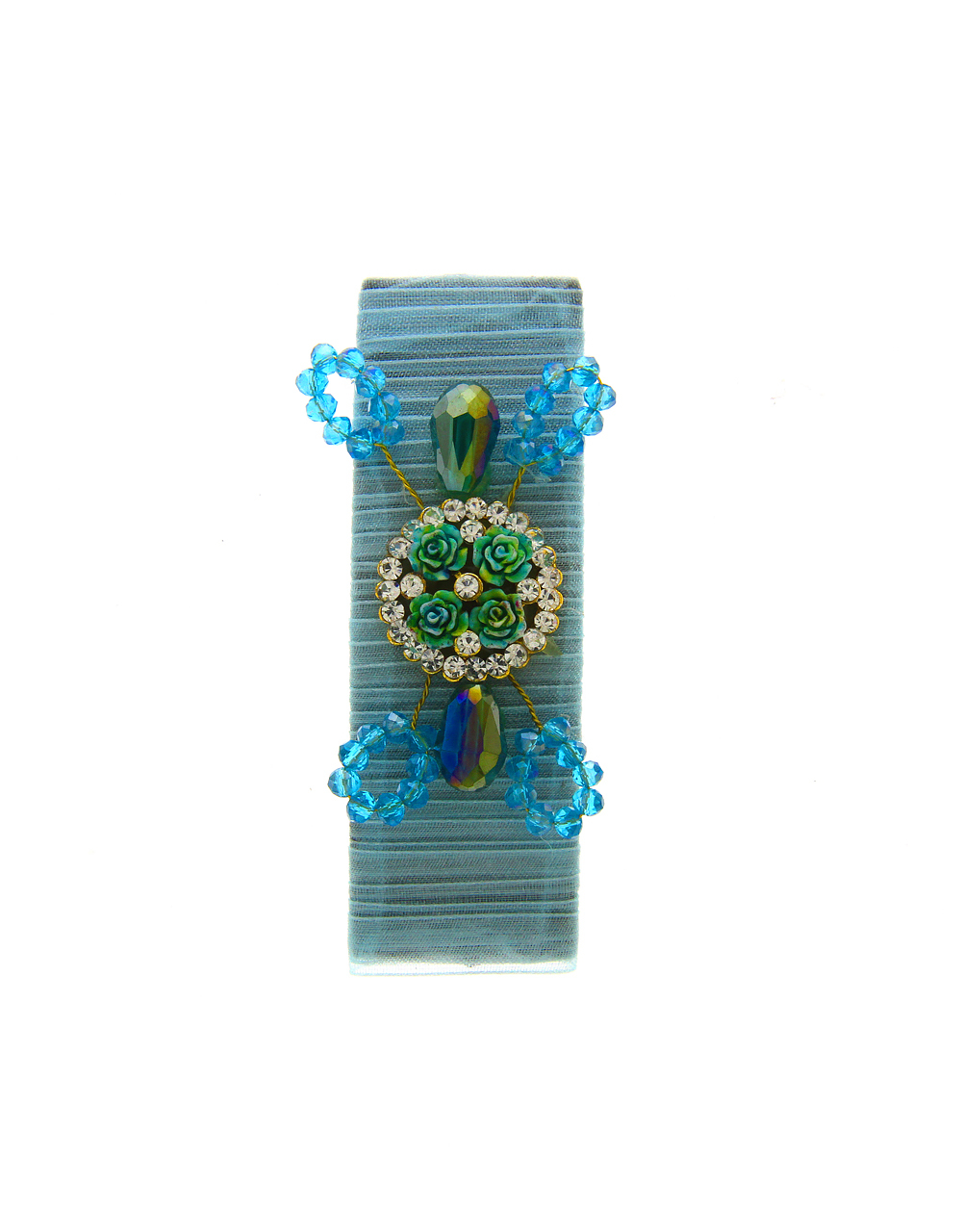 Turquiose Colour Designer Studded With Stones Fancy Hair Pin