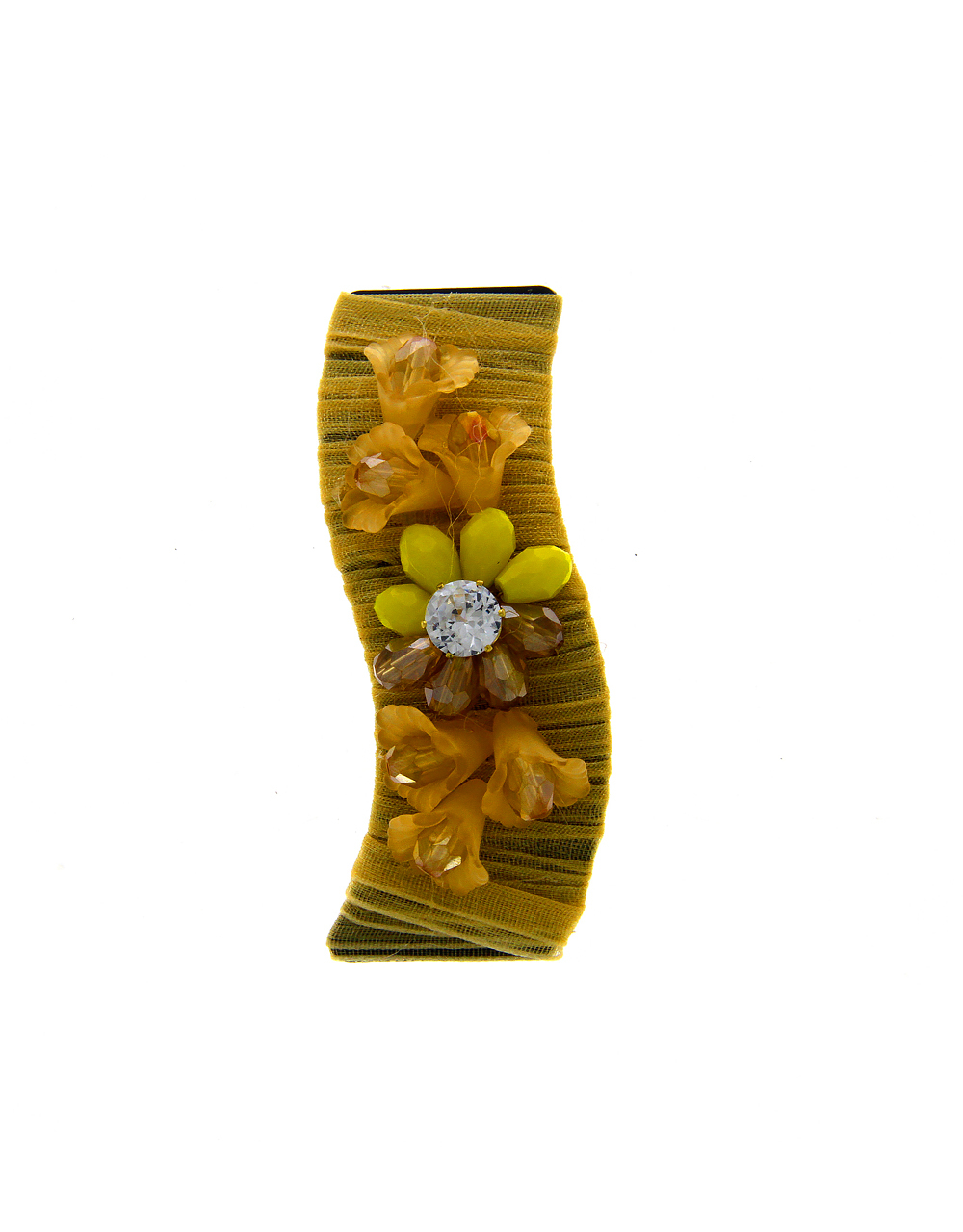 Yellow Colour Styled With Beads Fancy Hair Pin