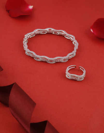 Fancy Silver Finish Stunning American Diamond Bracelets With Finger Ring Combo