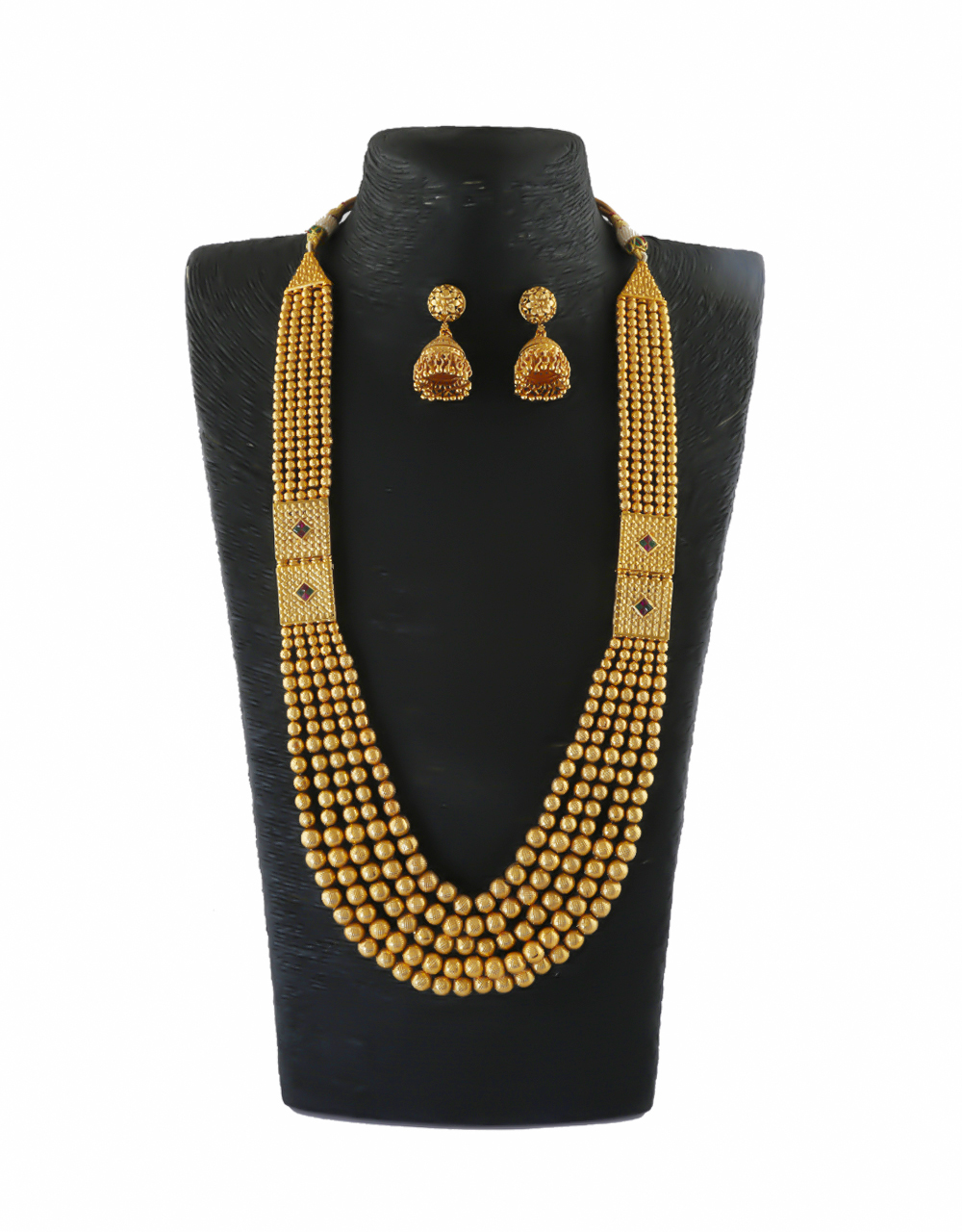 Matte Gold Finish Layered Traditional Long Necklace For Women