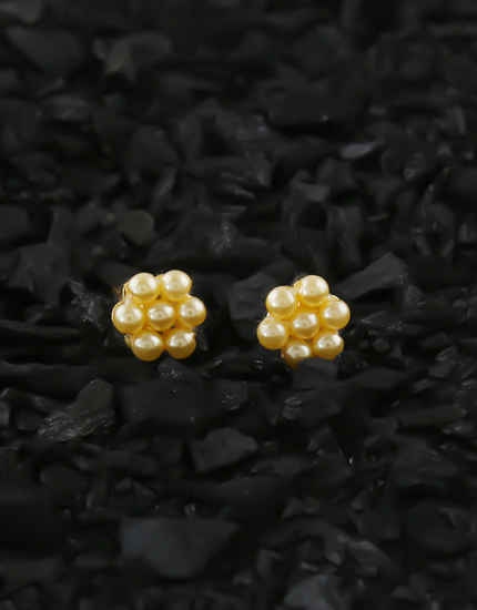Gold Finish Pearls Styled Kudi Earrings For Girls
