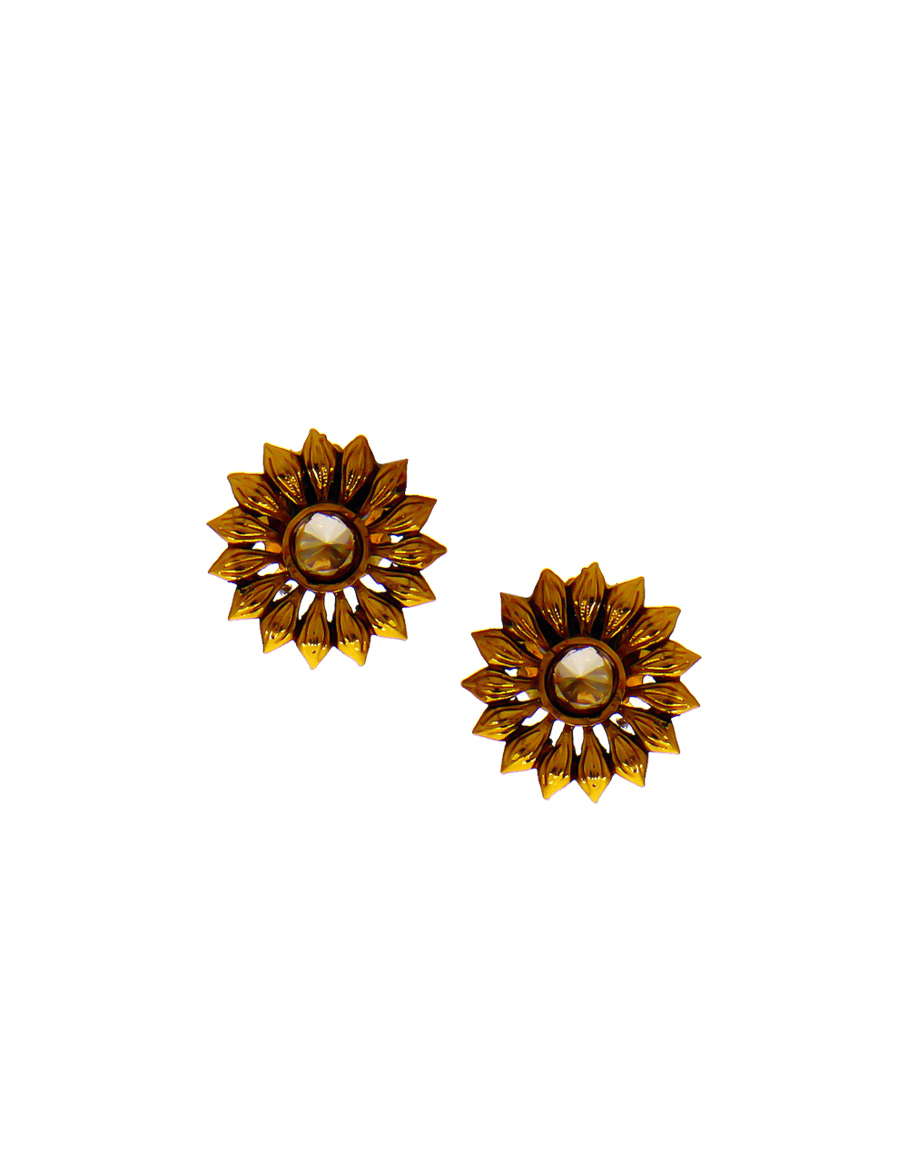 Floral Design Traditional Antique Gold Finish Fancy Earstud