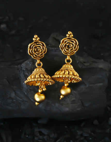 Matte Gold Finish Traditional Jhoomka Earrings