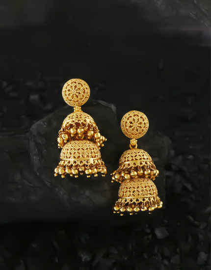 Gold Finish Traditional Fancy Earrings For Wedding