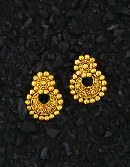 Traditional Matte Gold Finish Chandbali Earrings