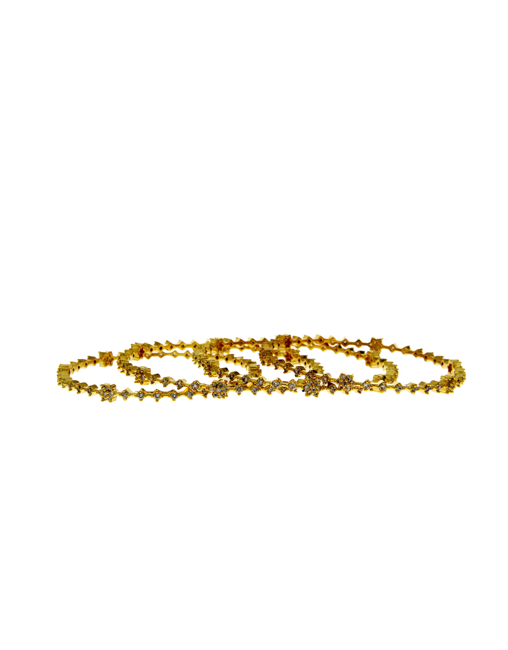 Gold Finish Floral Design American Diamond Fancy Stunning Party Wear Bangles
