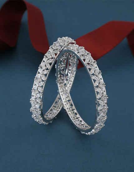 Silver Finish Beautiful American Diamond Stunning Bangles