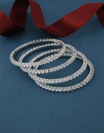 Adorable Silver Finish Artificial American Diamond Bangles Set