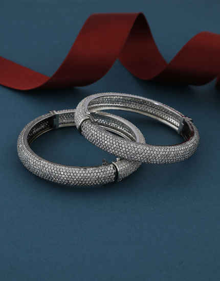 Oxidized Silver Finish Studded With Diamond Bangles For Women