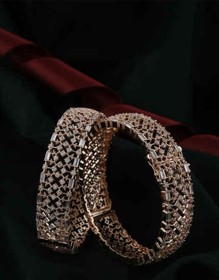 Rose Gold Finish American Diamond Fancy Artificial Bangles