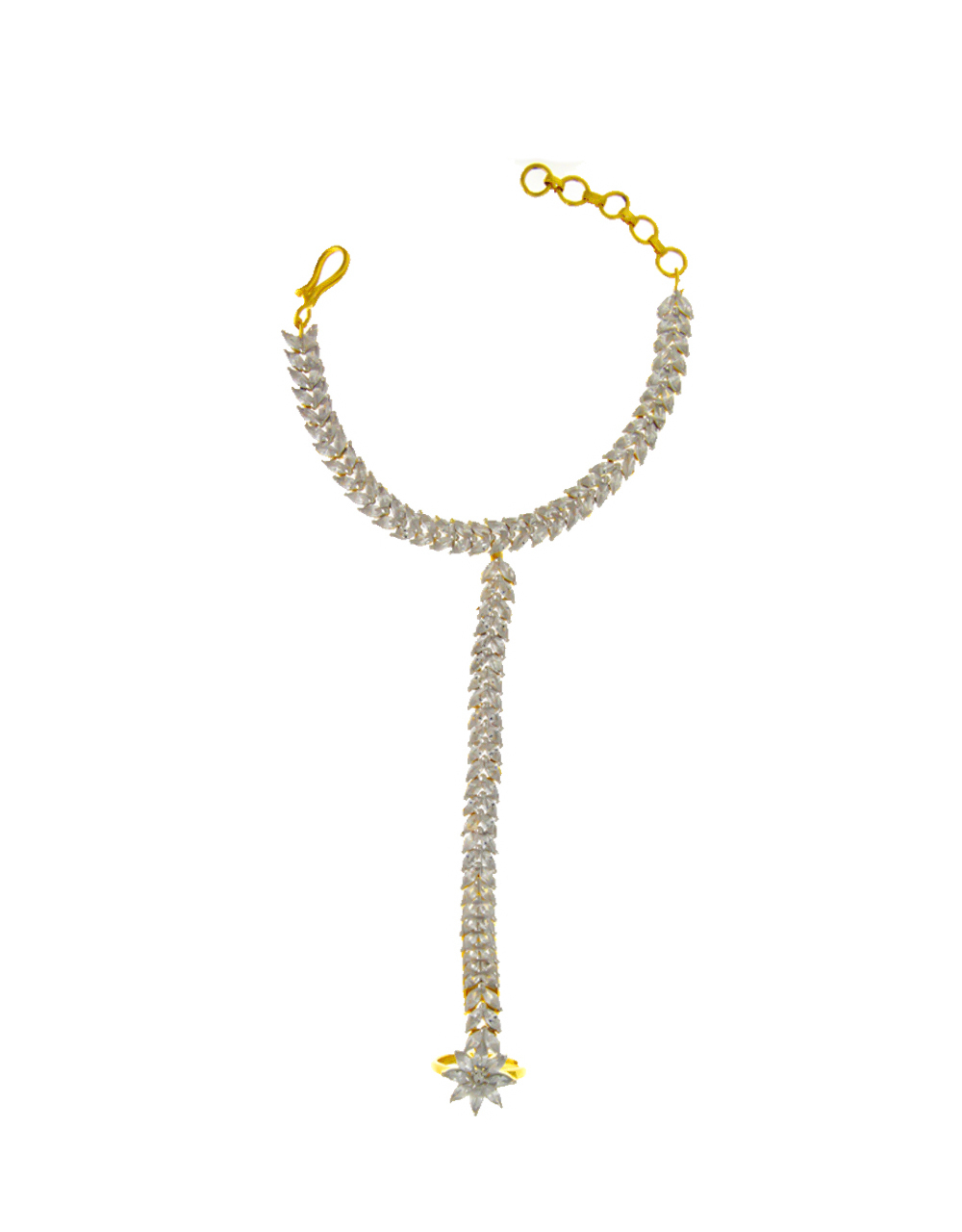Adorable Gold Finish Studded With American Diamond Hath Phool For Women