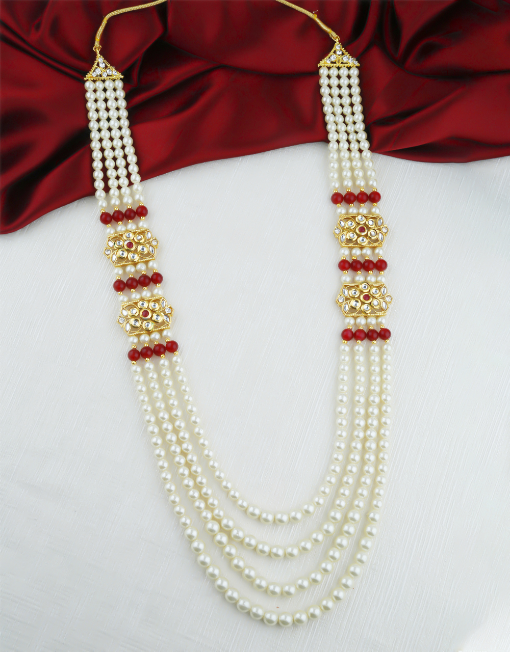 Red Colour Gold Finish Studded With Kundan Groom Mala For Men