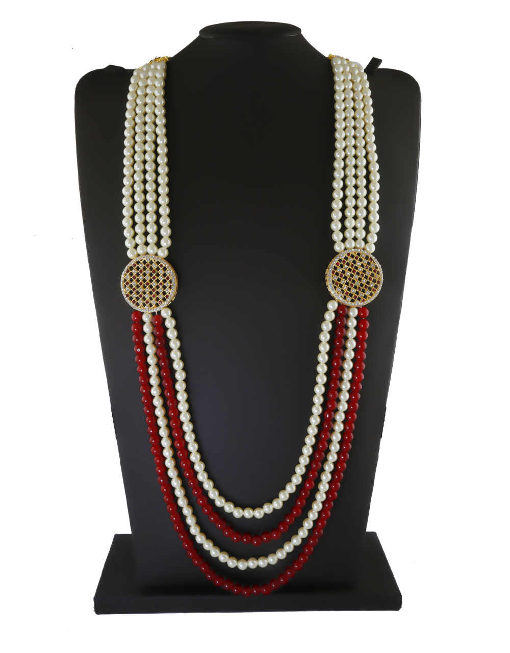 Adorable Gold Finish Red Colour American Diamond Stunning Moti Mala