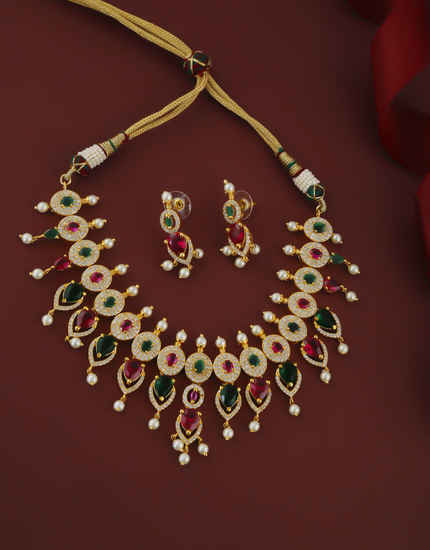 Multi Colour Gold Finish Styled With Pearls Beads Fancy Necklace For Women