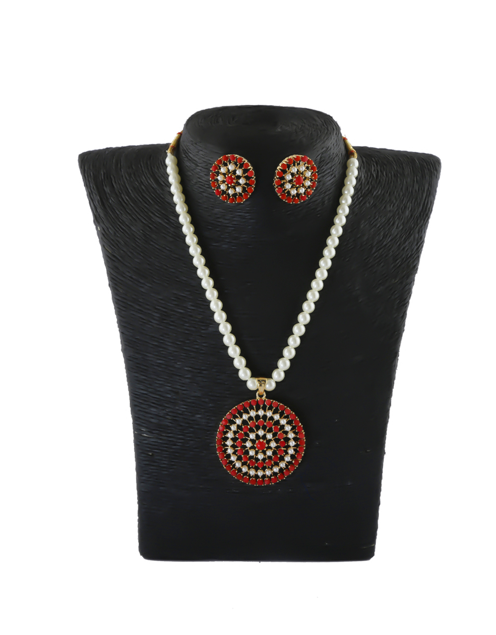 Red Colour Gold Finish Traditional Moti Mala Necklace