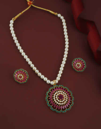 Pink-Green Colour Moti Mala Studded With Stone Fancy Mala