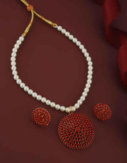 Red Colour Gold Finish Studded With Stones Fancy Moti Necklace