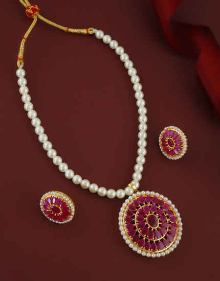 Designer Pink Colour Gold Finish Styled With Moti Beads Mala Necklace