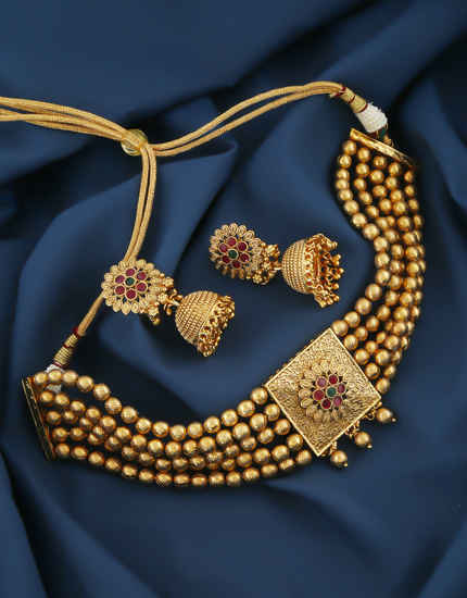 Matte Gold Finish Multi Colour Floral Design Chokar Traditional Necklace