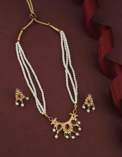 Pink Colour Gold Finish Maharashtrian Moti Rani Haar For Women