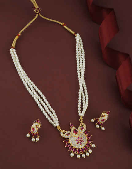 Peacock Design Pink Colour Traditional Maharashtrian Moti Necklace For Women