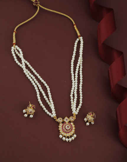 Simple Pink Colour Gold Finish Moti Raani Haar For Women