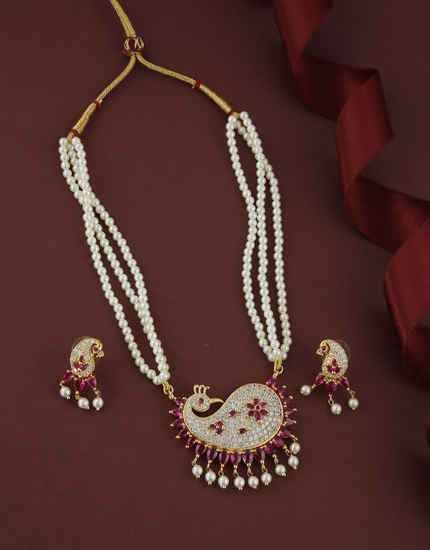 Pink Colour Peacock Design American Diamond Moti Necklace For Women