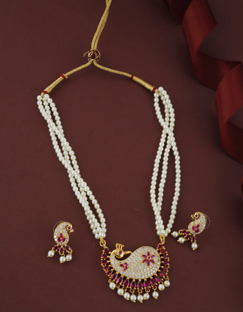 Traditional Gold Finish Pink Colour Stunning Pearls Maharashtrian Necklace