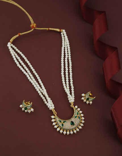 Green Colour Gold Finish Fancy Stunning American Diamond Raani Haar