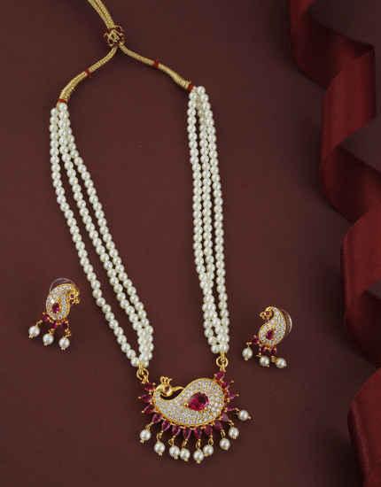 Pink Colour Gold Finish Studded With Rani Diamond Fancy Raani Haar